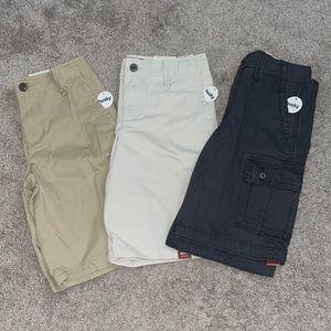 3 NEW boys 10 husky shorts khaki grey cargo chino